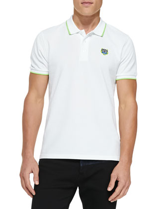 Tipped Tiger Polo, White/Lime
