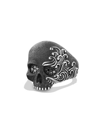 Waves Large Skull Ring with Gold