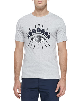 Eye-Print Jersey Tee, Light Gray