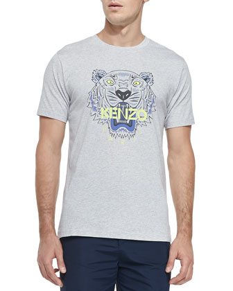 Tiger-Print Jersey Tee, Light Gray/Green