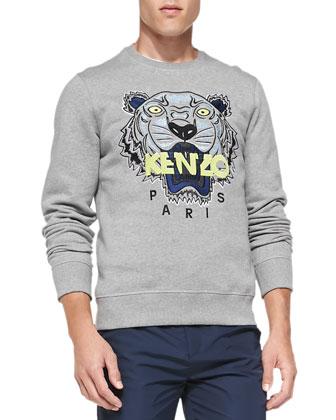 Tiger Logo Sweatshirt, Light Gray