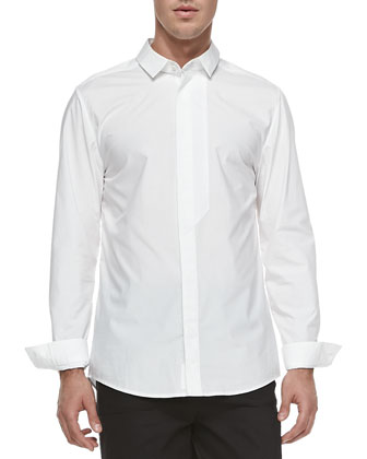 Poplin Fly-Front Shirt, White