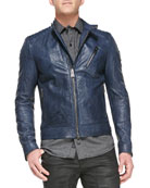 Kirkham Tumbled Leather Biker Jacket, Indigo