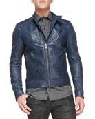 Kirkham Tumbled Leather Biker Jacket, Indigo