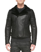 Fraser Shearling Fur Biker Jacket, Black