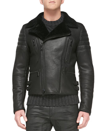 Fraser Shearling Fur Biker Jacket, Black
