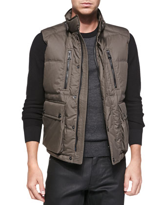 Armstrong Down Vest, Olive Green