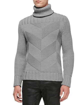 Maxford Chunky Chevron-Knit Sweater, Feather Gray