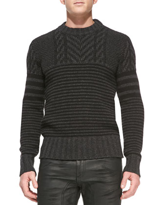 Burstead Stripe Crewneck Sweater, Dark Gray Melange