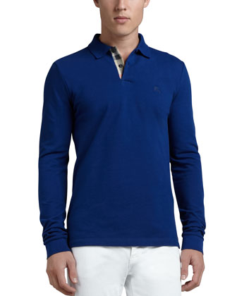 Long-Sleeve Check-Placket Polo, Navy
