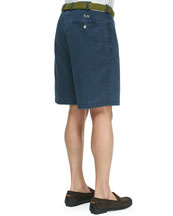 Monogrammed Winston Twill Shorts, Navy