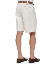 Monogrammed Winston Twill Shorts, Stone