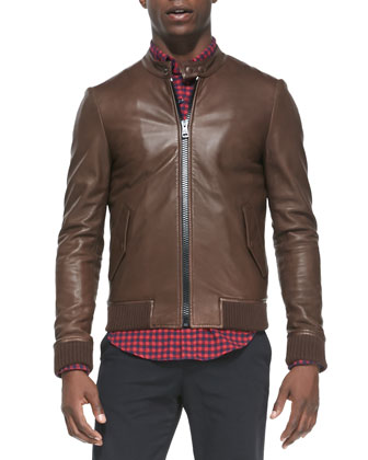 Leather Jacket with Striped Knit Trim, Check Button-Down Shirt & Cotton ...
