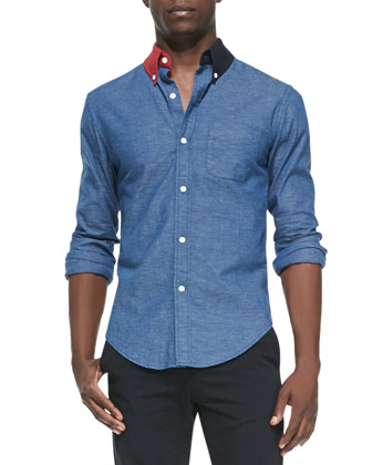 Contrast-Collar Button-Down Shirt, Indigo