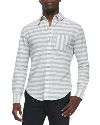 Horizontal-Stripe Button-Down Shirt