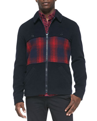 Wool-Blend Coat with Plaid-Panel, Navy/Red