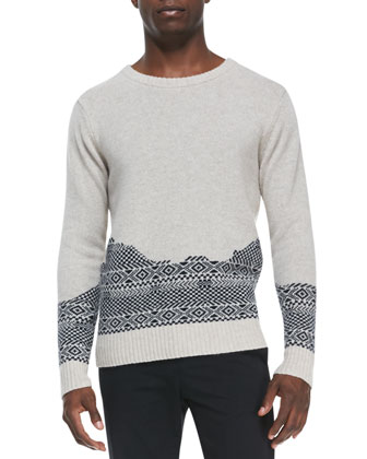 Broken-Fair Isle Crewneck Sweater, Ivory
