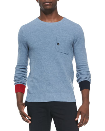 Birdseye-Knit Crewneck Sweater & Cotton Chino Pants