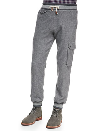 Brushed-Herringbone Cargo Pants, Gray