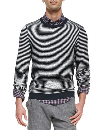 Stripe Crewneck Sweater, White/Navy