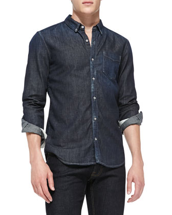 Button-Down Denim Shirt, Blue