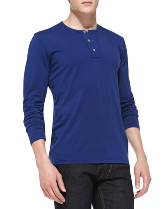 Commute Long-Sleeve Henley, Blue