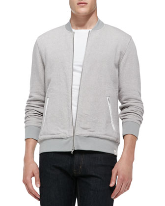 Pique-Terry Bomber Jacket, Gray