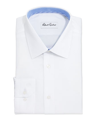 Clark Diamond-Weave Dress Shirt, White
