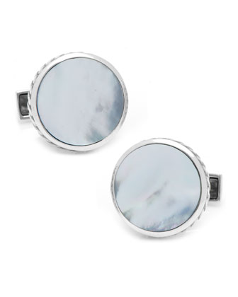 Round Scaled Mother-of-Pearl Cuff Links