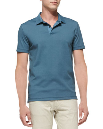 Short-Sleeve Pique Polo, Blue
