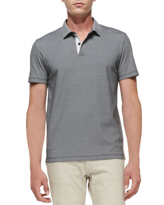 Short-Sleeve Pique Polo, Gray