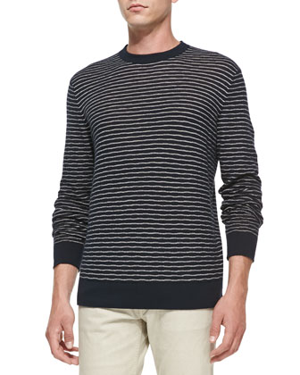 Textured Striped Crewneck Sweater, Blue/Navy