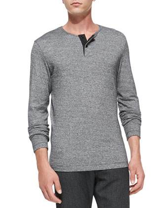 Melange Long-Sleeve Henley, Black