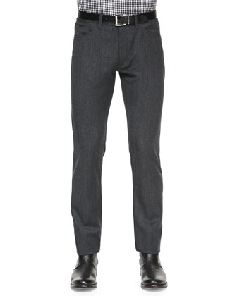 Haydin 5-Pocket Wool Pants, Charcoal