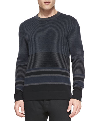 Striped Merino/Yak Sweater, Charcoal/Navy