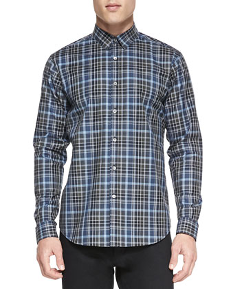 Multi-Plaid Button-Down Shirt, Blue/Green