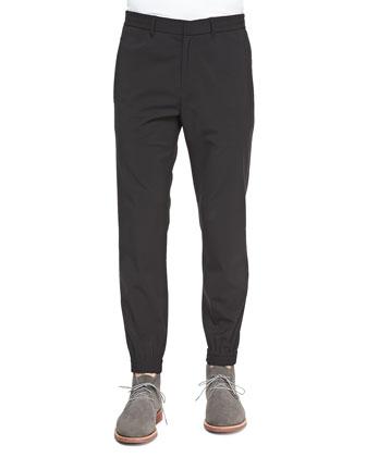 Nylon Drawstring Pants, Black