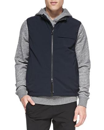 Reversible Tech Vest, Cotton Pullover Hoodie & Nylon Drawstring Pants