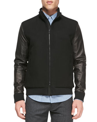 Double-Faced Bomber Jacket, Black