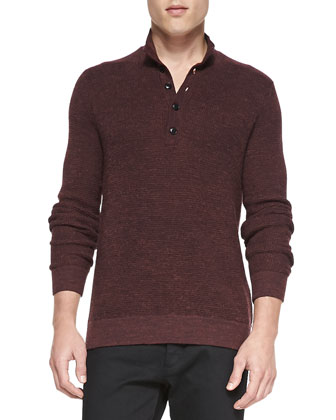 Textured Moc-Collar Sweater, Burgundy