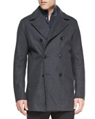 Mid-Length Wool-Blend Peacoat, Charcoal