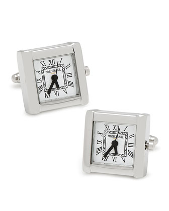 Square Watch Movement Cuff Links, Silver