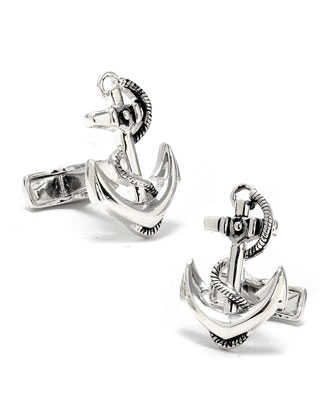 Sterling Silver Boat Anchor Cuff Links