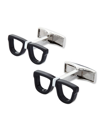 Nerd Glasses Cuff Links, Black