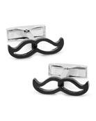 Enamel Mustache Cufflinks, Black