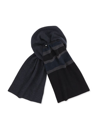 Textured Knit Scarf, Charcoal