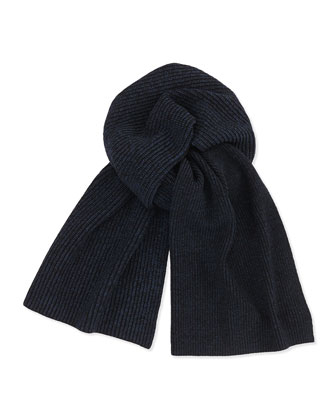 Marled Knit Scarf, Black