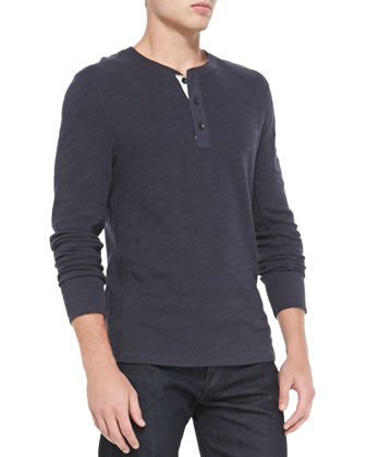 Flame Jersey Henley, Navy