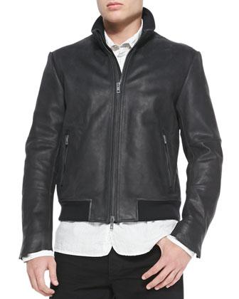 Seth Leather Jacket, 3/4-Placket Striped Woven Shirt & Skinny Denim Jeans