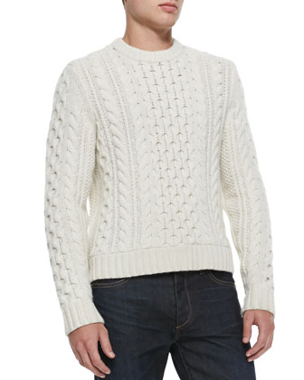 Trevor Cable-Knit Sweater, White